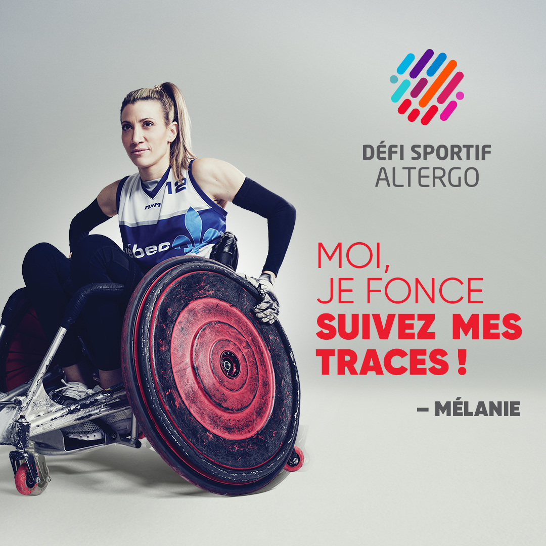 Mélanie Labelle in her rugby wheelchair.